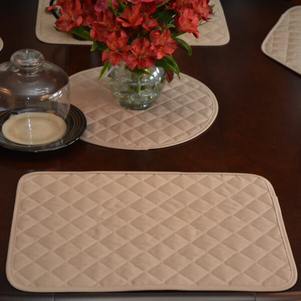 Sweet Pea Linens - Solid Khaki Tan Quilted Rectangle Placemats - Set of Two (SKU#: RS2-1001-Y7) - Alternate Table Setting
