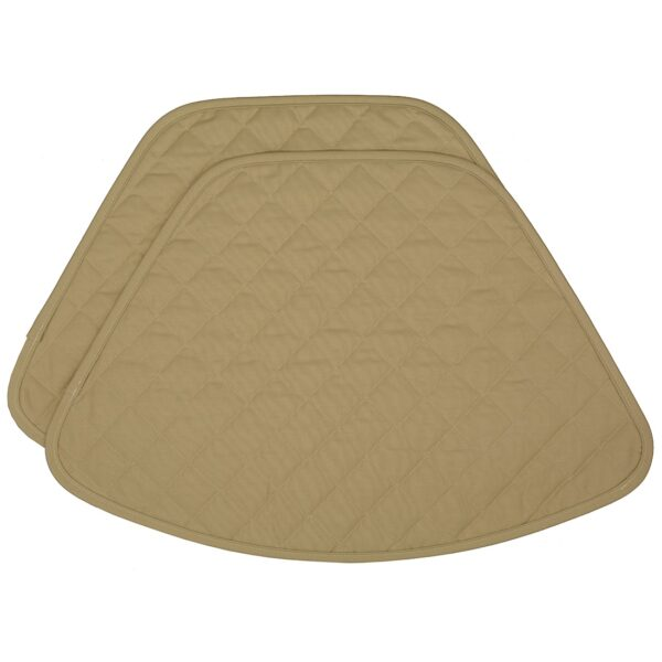 Sweet Pea Linens - Solid Khaki Tan Quilted Wedge-Shaped Placemats - Set of Two (SKU#: RS2-1006-Y7) - Product Image