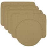 Sweet Pea Linens - Solid Khaki Tan Quilted Rectangle Placemats - Set of Four plus Center Round-Charger (SKU#: RS5-1001-Y7) - Product Image