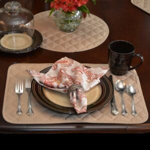 Sweet Pea Linens - Solid Khaki Tan Quilted Rectangle Placemats - Set of Four plus Center Round-Charger (SKU#: RS5-1001-Y7) - Table Setting