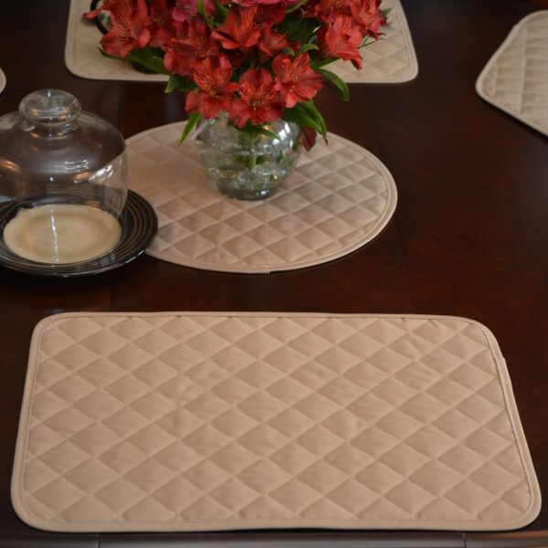 Sweet Pea Linens - Solid Khaki Tan Quilted Rectangle Placemats - Set of Four plus Center Round-Charger (SKU#: RS5-1001-Y7) - Alternate Table Setting