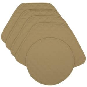 Sweet Pea Linens - Solid Khaki Tan Quilted Wedge-Shaped Placemats - Set of Four plus Center Round-Charger (SKU#: RS5-1006-Y7) - Product Image