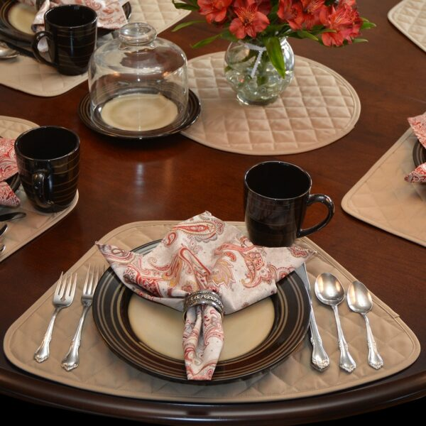 Sweet Pea Linens - Solid Khaki Tan Quilted Wedge-Shaped Placemats - Set of Four plus Center Round-Charger (SKU#: RS5-1006-Y7) - Table Setting