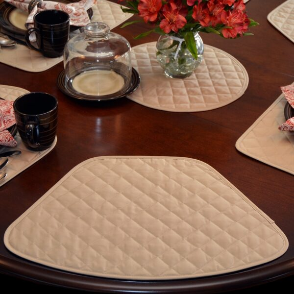 Sweet Pea Linens - Solid Khaki Tan Quilted Wedge-Shaped Placemats - Set of Four plus Center Round-Charger (SKU#: RS5-1006-Y7) - Alternate Table Setting