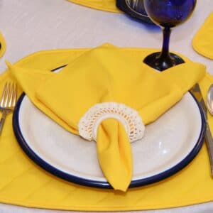 Sweet Pea Linens - Solid Bright Yellow Rolled Hem Cloth Napkin (SKU#: R-1010-Y8) - Table Setting