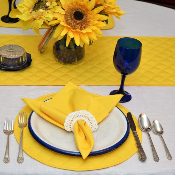 Sweet Pea Linens - Solid Bright Yellow Quilted Charger-Center Round Placemat (SKU#: R-1015-Y8) - Table Setting