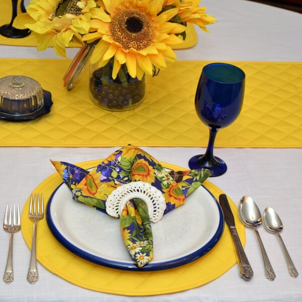 Sweet Pea Linens - Solid Bright Yellow Quilted Charger-Center Round Placemat (SKU#: R-1015-Y8) - Alternate Table Setting