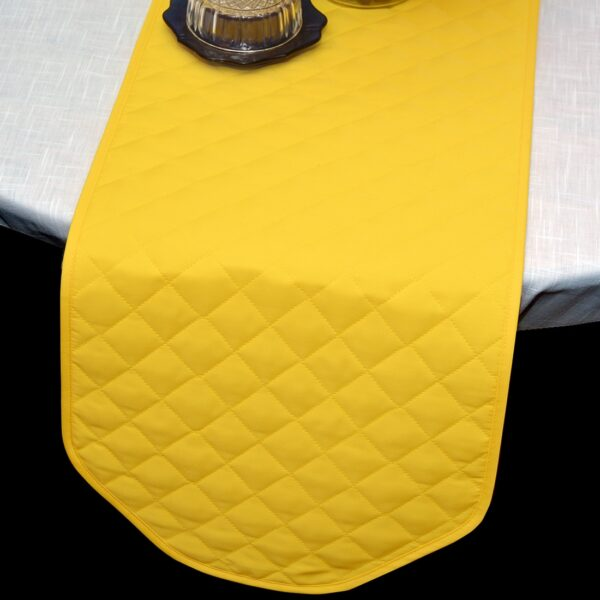 Sweet Pea Linens - Solid Bright Yellow Quilted 60 inch Table Runner (SKU#: R-1021-Y8) - Table Setting