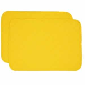 Sweet Pea Linens - Solid Bright Yellow Quilted Rectangle Placemats - Set of Two (SKU#: RS2-1001-Y8) - Product Image