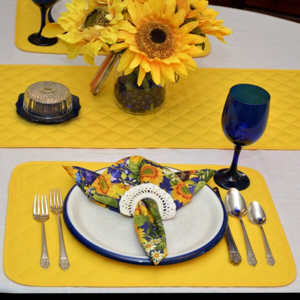 Sweet Pea Linens - Solid Bright Yellow Quilted Rectangle Placemats - Set of Two (SKU#: RS2-1001-Y8) - Alternate Table Setting