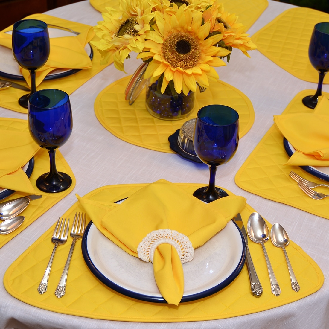 Sweet Pea Linens - Solid Bright Yellow Quilted Wedge-Shaped Placemats - Set of Two (SKU#: RS2-1006-Y8) - Table Setting
