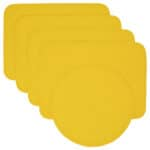 Sweet Pea Linens - Solid Bright Yellow Quilted Rectangle Placemats - Set of Four plus Center Round-Charger (SKU#: RS5-1001-Y8) - Product Image