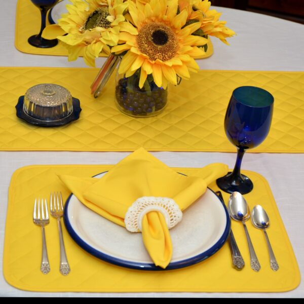 Sweet Pea Linens - Solid Bright Yellow Quilted Rectangle Placemats - Set of Four plus Center Round-Charger (SKU#: RS5-1001-Y8) - Table Setting