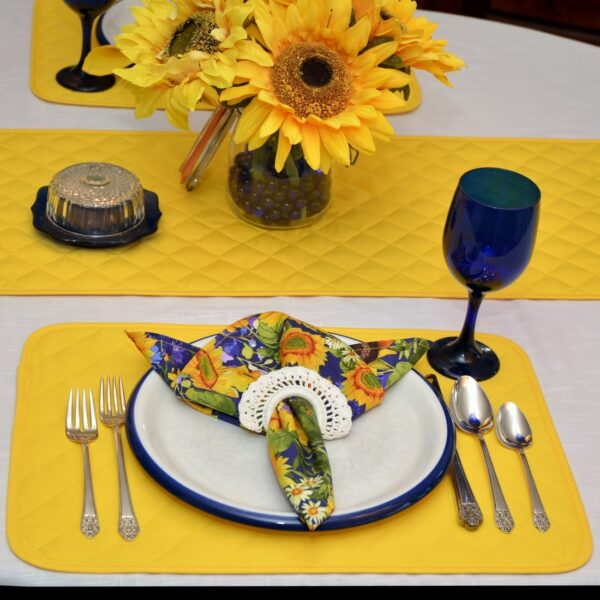 Sweet Pea Linens - Solid Bright Yellow Quilted Rectangle Placemats - Set of Four plus Center Round-Charger (SKU#: RS5-1001-Y8) - Alternate Table Setting