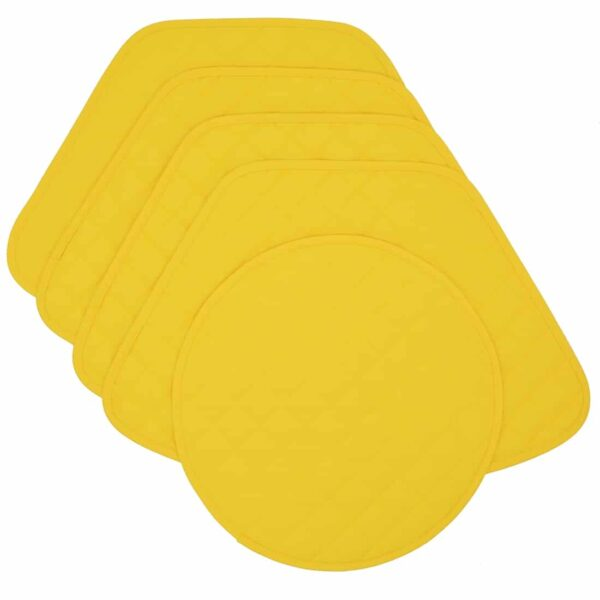 Sweet Pea Linens - Solid Bright Yellow Quilted Wedge-Shaped Placemats - Set of Four plus Center Round-Charger (SKU#: RS5-1006-Y8) - Product Image