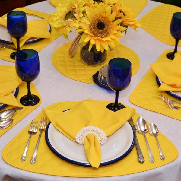 Sweet Pea Linens - Solid Bright Yellow Quilted Wedge-Shaped Placemats - Set of Four plus Center Round-Charger (SKU#: RS5-1006-Y8) - Table Setting