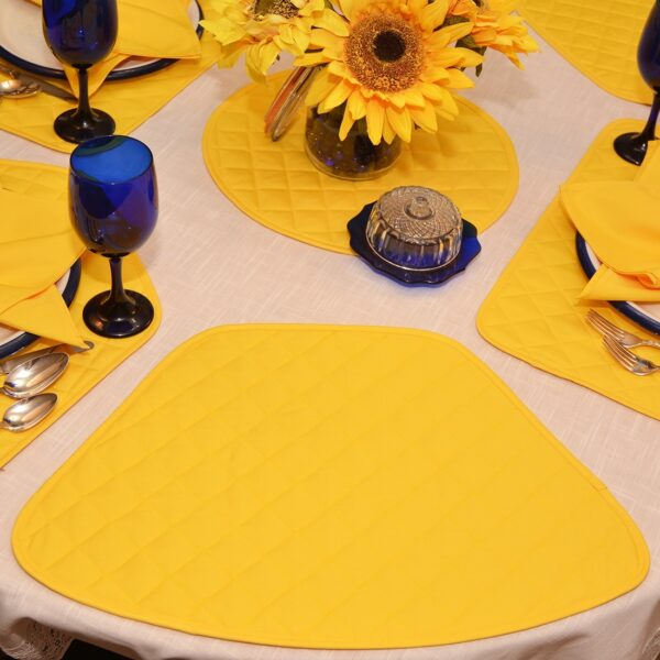 Sweet Pea Linens - Solid Bright Yellow Quilted Wedge-Shaped Placemats - Set of Four plus Center Round-Charger (SKU#: RS5-1006-Y8) - Alternate Table Setting