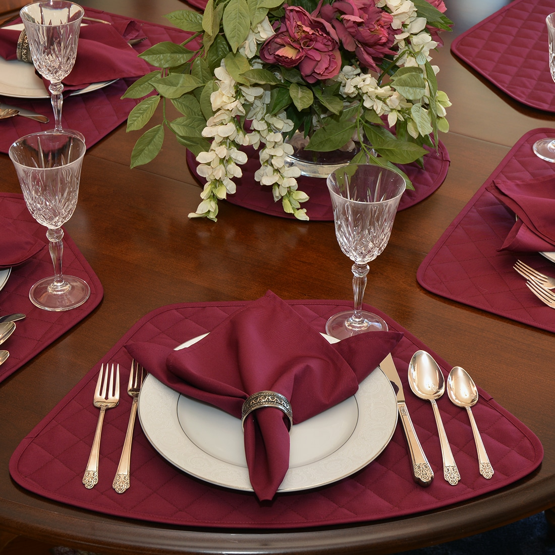 Solid Berry Wine Quilted Table Linen Collection
