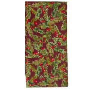 Sweet Pea Linens - Coordinating Burgundy Fir & Berries Rolled Hem Cloth Napkin (SKU#: R-1010-Z1) - Product Image