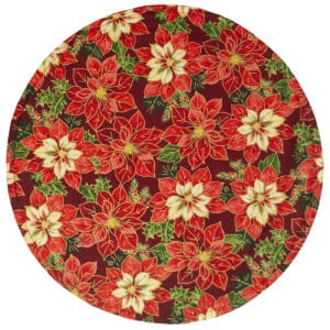 Sweet Pea Linens - Pink & Burgundy Poinsettia Holiday Print Charger-Center Round Placemat (SKU#: R-1015-Z1) - Product Image