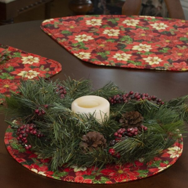 Sweet Pea Linens - Pink & Burgundy Poinsettia Holiday Print Charger-Center Round Placemat (SKU#: R-1015-Z1) - Table Setting