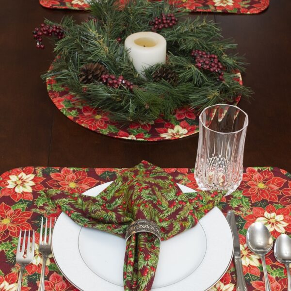 Sweet Pea Linens - Pink & Burgundy Poinsettia Holiday Print Charger-Center Round Placemat (SKU#: R-1015-Z1) - Alternate Table Setting