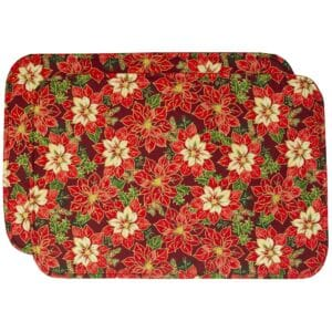 Sweet Pea Linens - Pink & Burgundy Poinsettia Holiday Print Rectangle Placemats - Set of Two (SKU#: RS2-1002-Z1) - Product Image
