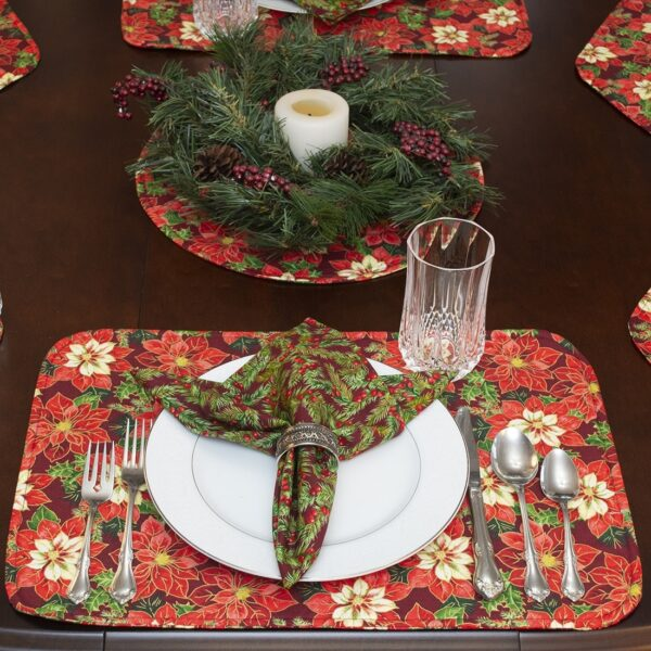 Sweet Pea Linens - Pink & Burgundy Poinsettia Holiday Print Rectangle Placemats - Set of Two (SKU#: RS2-1002-Z1) - Alternate Table Setting