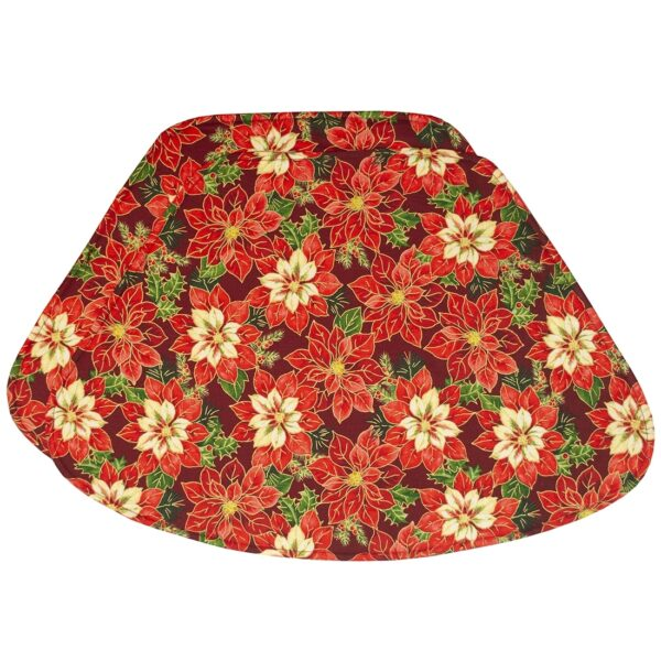 Sweet Pea Linens - Pink & Burgundy Poinsettia Holiday Print Wedge-Shaped Placemats - Set of Two (SKU#: RS2-1006-Z1) - Product Image