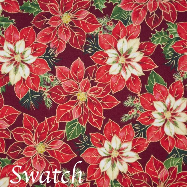 Sweet Pea Linens - Pink & Burgundy Poinsettia Holiday Print Wedge-Shaped Placemats - Set of Two (SKU#: RS2-1006-Z1) - Swatch