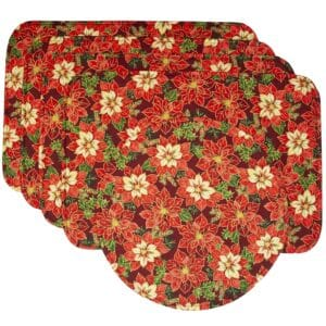 Sweet Pea Linens - Pink & Burgundy Poinsettia Holiday Print Rectangle Placemats - Set of Four plus Center Round-Charger (SKU#: RS5-1002-Z1) - Product Image