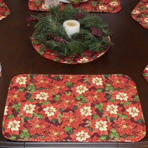 Sweet Pea Linens - Pink & Burgundy Poinsettia Holiday Print Rectangle Placemats - Set of Four plus Center Round-Charger (SKU#: RS5-1002-Z1) - Table Setting
