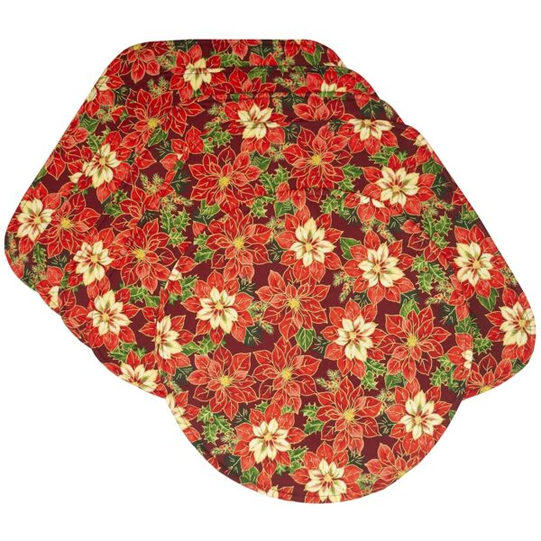 Sweet Pea Linens - Pink & Burgundy Poinsettia Holiday Print Wedge-Shaped Placemats - Set of Four plus Center Round-Charger (SKU#: RS5-1006-Z1) - Product Image