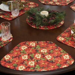 Sweet Pea Linens - Pink & Burgundy Poinsettia Holiday Print Wedge-Shaped Placemats - Set of Four plus Center Round-Charger (SKU#: RS5-1006-Z1) - Table Setting