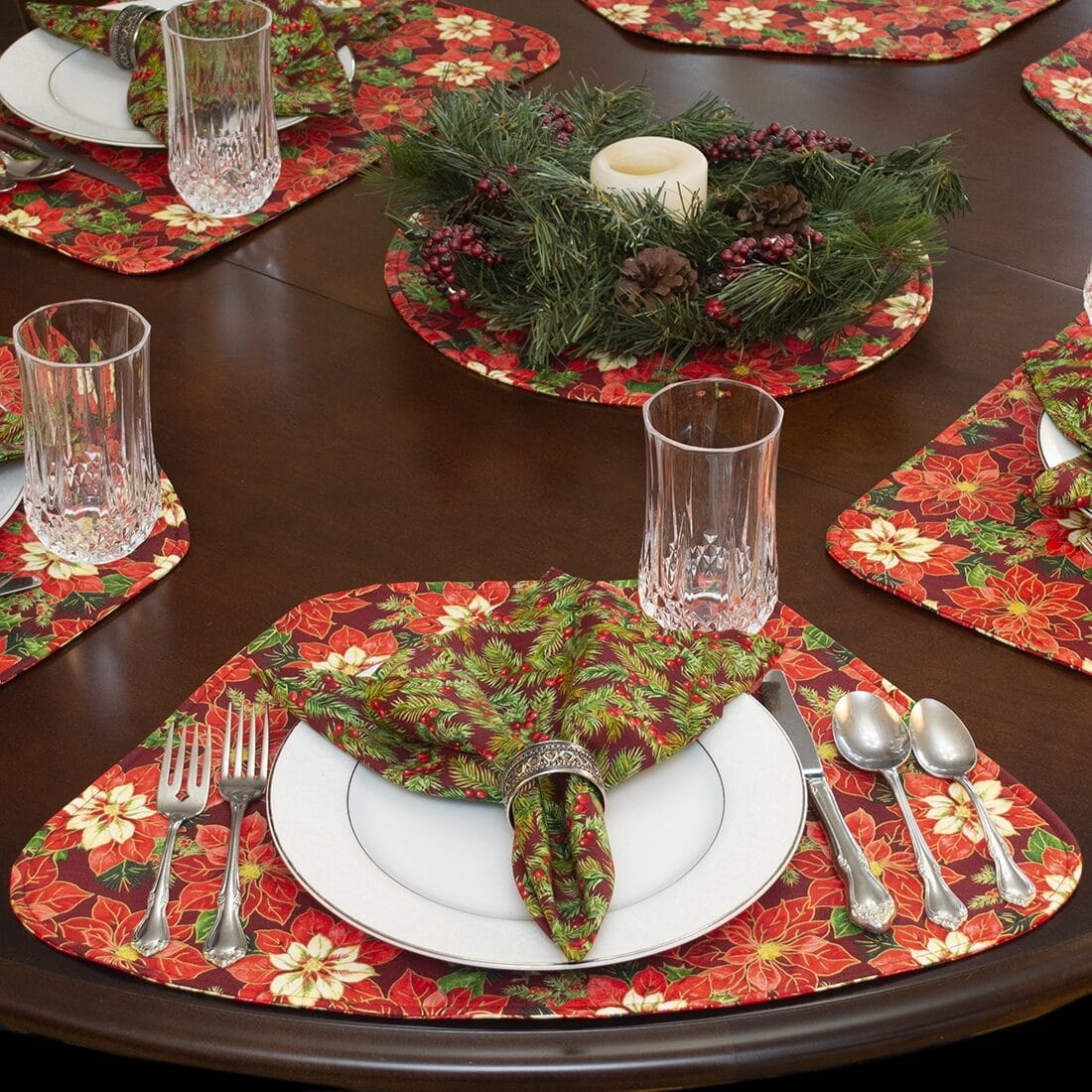 Sweet Pea Linens - Pink & Burgundy Poinsettia Holiday Print Wedge-Shaped Placemats - Set of Four plus Center Round-Charger (SKU#: RS5-1006-Z1) - Alternate Table Setting