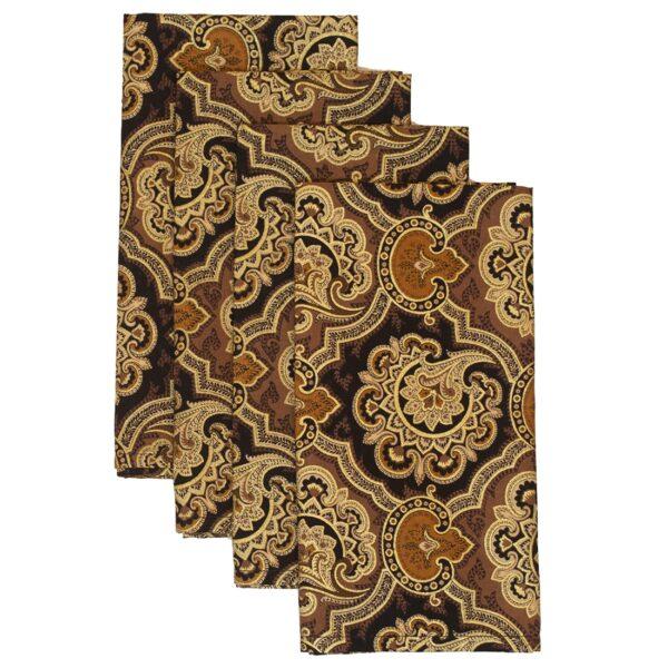 Sweet Pea Linens - Brown & Black Filigree Print Rolled Hem Cloth Napkin (SKU#: R-1010-Z2) - Product Image