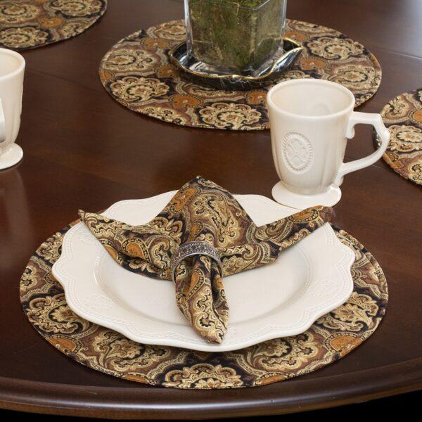 Sweet Pea Linens - Brown & Black Filigree Print Rolled Hem Cloth Napkin (SKU#: R-1010-Z2) - Table Setting