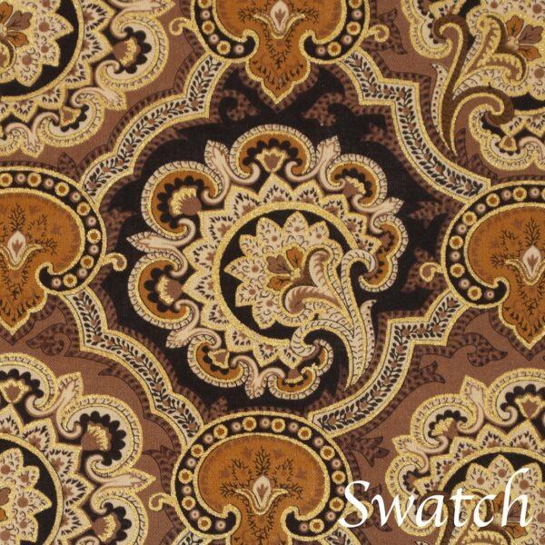 Sweet Pea Linens - Brown & Black Filigree Print Rolled Hem Cloth Napkin (SKU#: R-1010-Z2) - Swatch