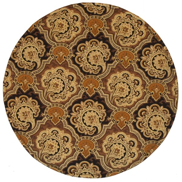 Sweet Pea Linens - Brown and Black Filigree Print Charger-Center Round Placemat (SKU#: R-1015-Z2) - Product Image