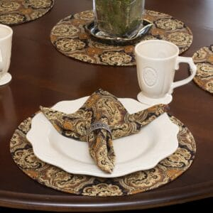 Sweet Pea Linens - Brown and Black Filigree Print Charger-Center Round Placemat (SKU#: R-1015-Z2) - Table Setting