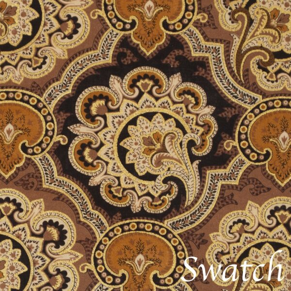 Sweet Pea Linens - Brown and Black Filigree Print Charger-Center Round Placemat (SKU#: R-1015-Z2) - Swatch