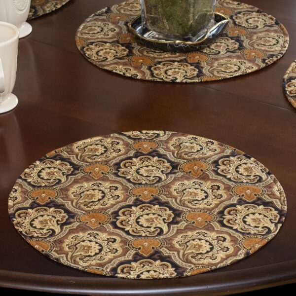 Sweet Pea Linens - Brown and Black Filigree Print Charger-Center Round Placemat (SKU#: R-1015-Z2) - Alternate Table Setting