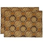 Sweet Pea Linens - Brown & Black Filigree Print Rectangle Placemats - Set of Two (SKU#: RS2-1002-Z2) - Product Image