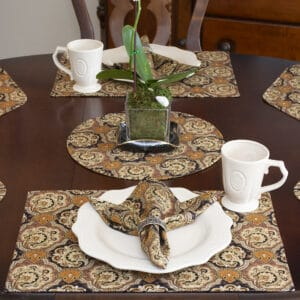 Sweet Pea Linens - Brown & Black Filigree Print Rectangle Placemats - Set of Two (SKU#: RS2-1002-Z2) - Table Setting