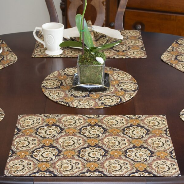 Sweet Pea Linens - Brown & Black Filigree Print Rectangle Placemats - Set of Two (SKU#: RS2-1002-Z2) - Alternate Table Setting