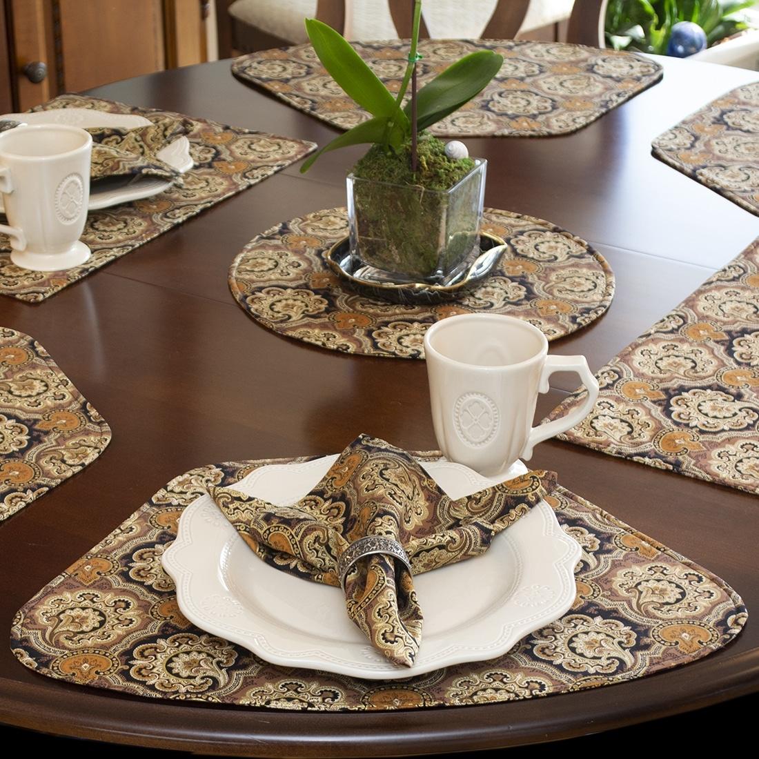 Sweet Pea Linens - Brown & Black Filigree Print Rolled Hem Cloth Napkins - Set of Four (SKU#: RS4-1010-Z2) - Alternate Table Setting