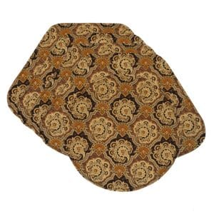 Sweet Pea Linens - Brown & Black Filigree Print Wedge-Shaped Placemats - Set of Four plus Center Round-Charger (SKU#: RS5-1006-Z2) - Product Image