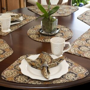 Sweet Pea Linens - Brown & Black Filigree Print Wedge-Shaped Placemats - Set of Four plus Center Round-Charger (SKU#: RS5-1006-Z2) - Table Setting