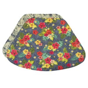 Sweet Pea Linens - Teal Green Tropical Print Wedge-Shaped Placemats - Set of Two (SKU#: RS2-1006-Z3) - Product Image