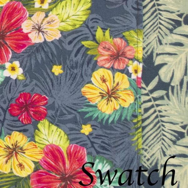 Sweet Pea Linens - Teal Green Tropical Print Wedge-Shaped Placemats - Set of Two (SKU#: RS2-1006-Z3) - Swatch